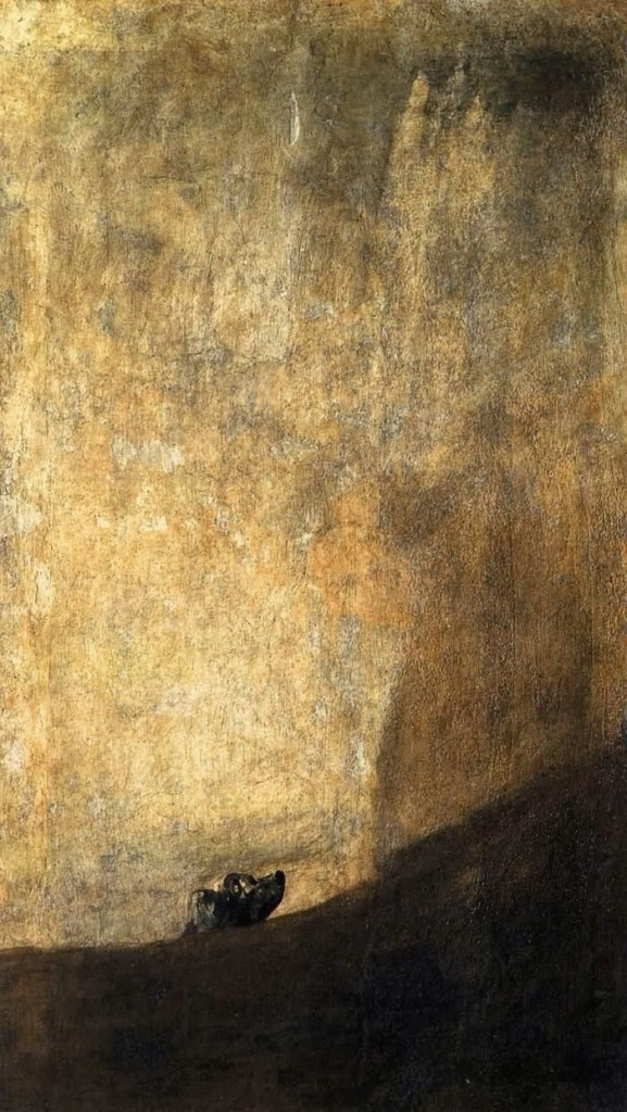 (The Dog is one of the Black Paintings Goya painted directly onto the walls of his house between 1819 and 1823)
