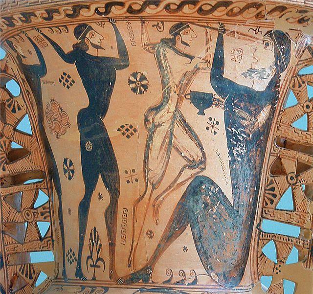 Odisseo e i compagni accecano Polifemo, vaso proto-attico da Eleusi