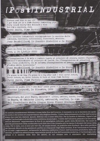 Fanzine Unknown Pleasures numero zero, Post-industrial, grafiche Francesca de Paolis
