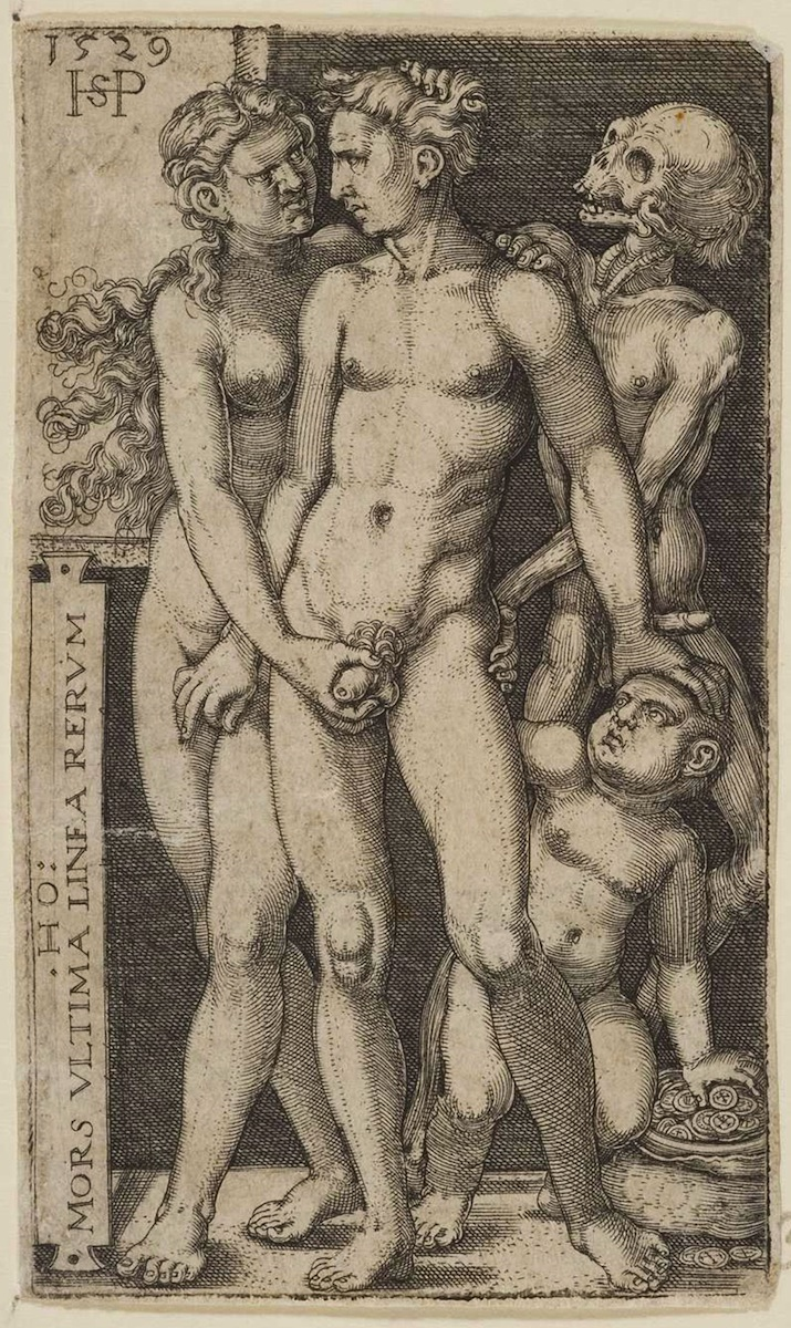 Hans Sebald Beham, Death and the Indecent Pair, engraving, 1529