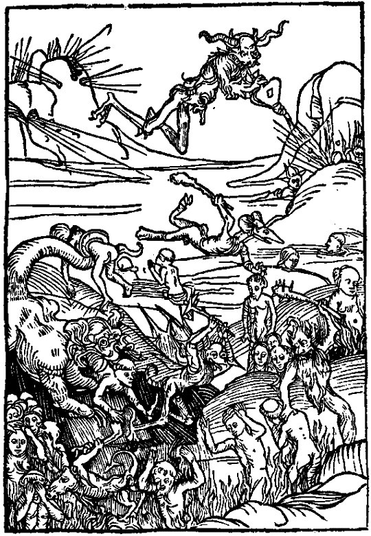 Demons catching the souls of sinners, Warning vor der falschen lieb dieser werlft, Nuremberg, 1495