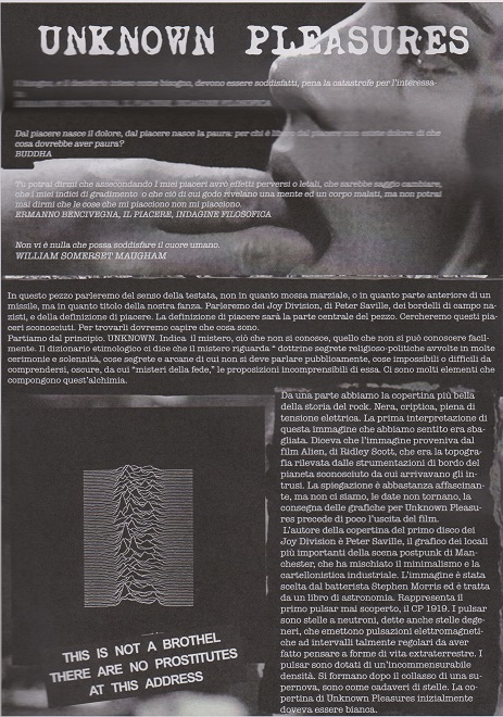 Fanzine Unknown Pleasures, numero zero, UP, grafiche Francesca De Paolis