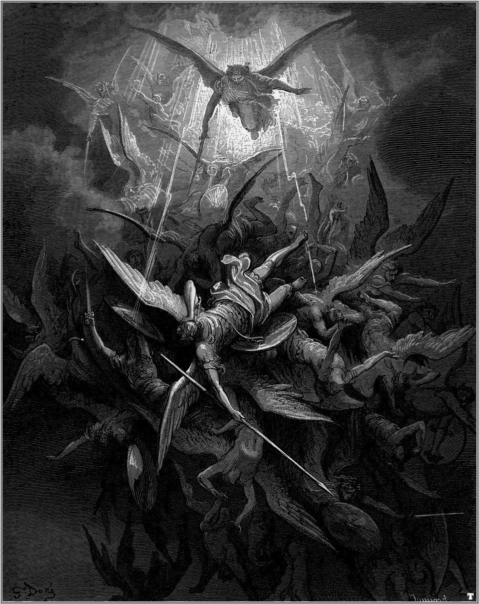 San Michele scaccia tutti gli angeli caduti, illustrazione di Gustave Doré (1866)