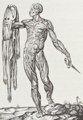 Juan de Valverde - La Anatomia del Cuerpo Humano (Muscle man holding his skin), 1586.