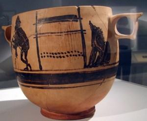 Circe, Vaso a figure nere, 450ca ac, Ermes e telaio