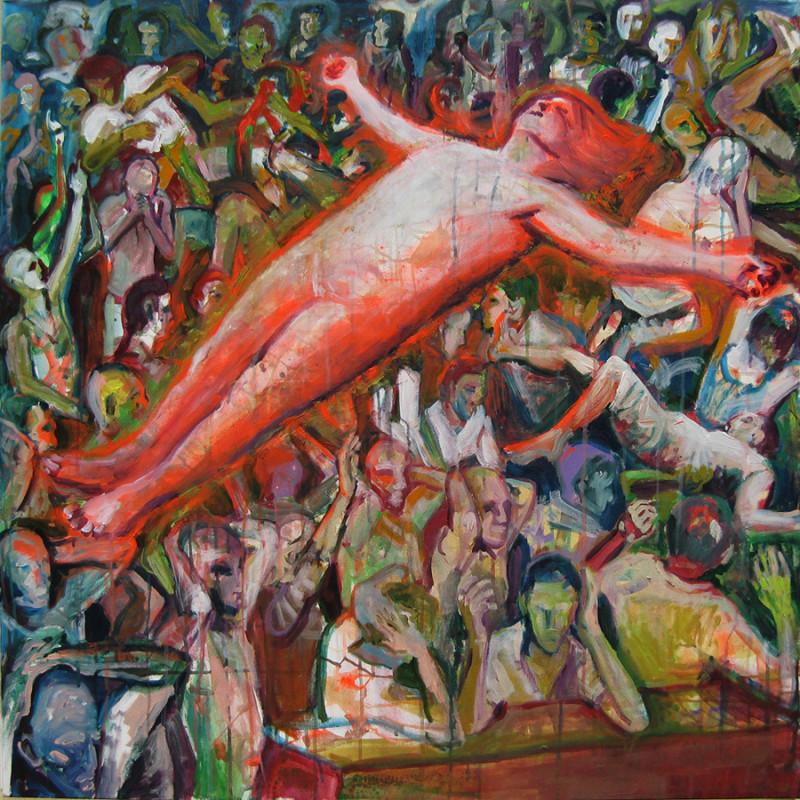 Emanuele Puzziello, Crepuscolo e Gloria, acrilico su tela, 100x100, 2011