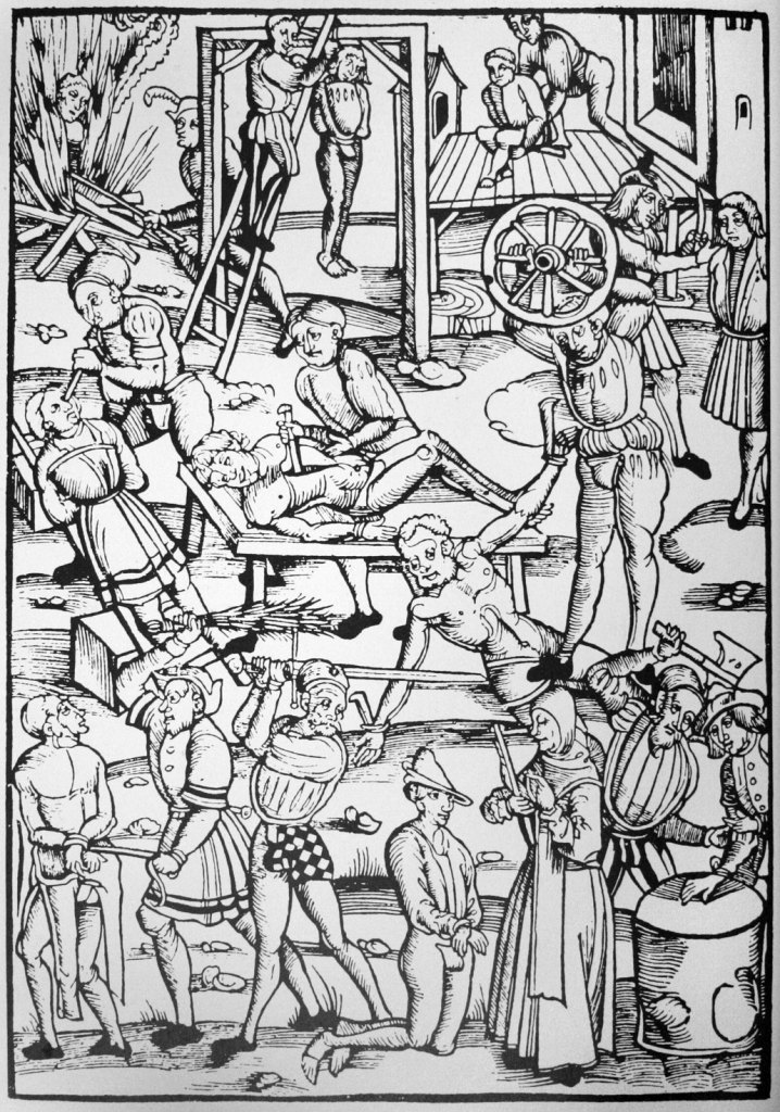Punishments for witchcraft in 16th-century Germany. Woodcut from Tengler's Laienspiegel, Mainz, 1508.
