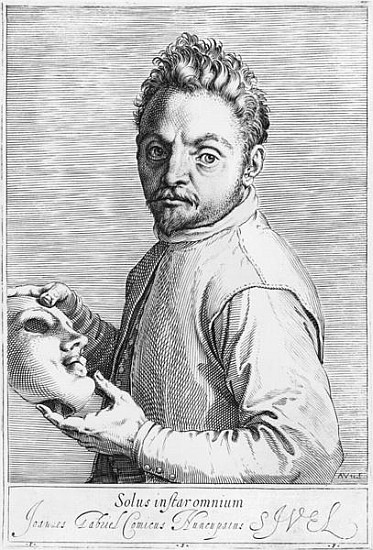 Agostino Carracci, Ritratto dell'attore Giovanni Gabrieli con una maschera,