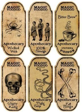 Halloween 6 Large Magic Voodoo Apothecary Bottle Labels Stickers Scrapbooking, cfr eBay