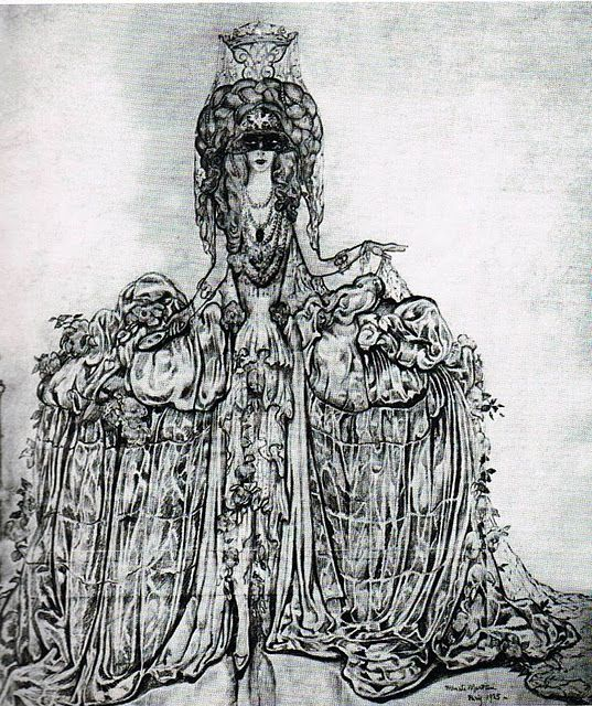 Luisa Casati dressed as the Comtesse de Castiglione. Drawing by A. Martini, 1925; Costume by Erté for the famous Bal du Grand Prix in 1924.