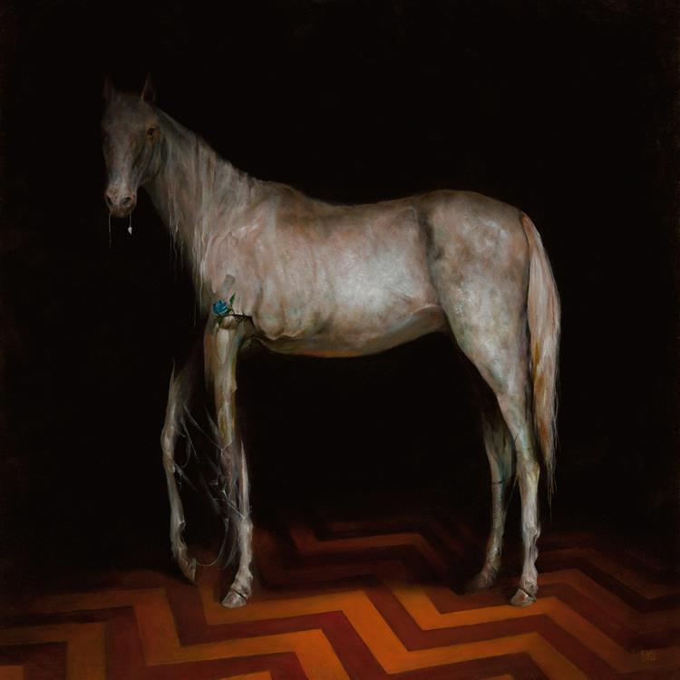 White Horse by Esao Andrews - 18 x 18 oil on wood. From the Twin Peaks Fire Walk With Me 20th Anniversary group art exhibition at the Copro Nason Art Gallery, Santa Monica,