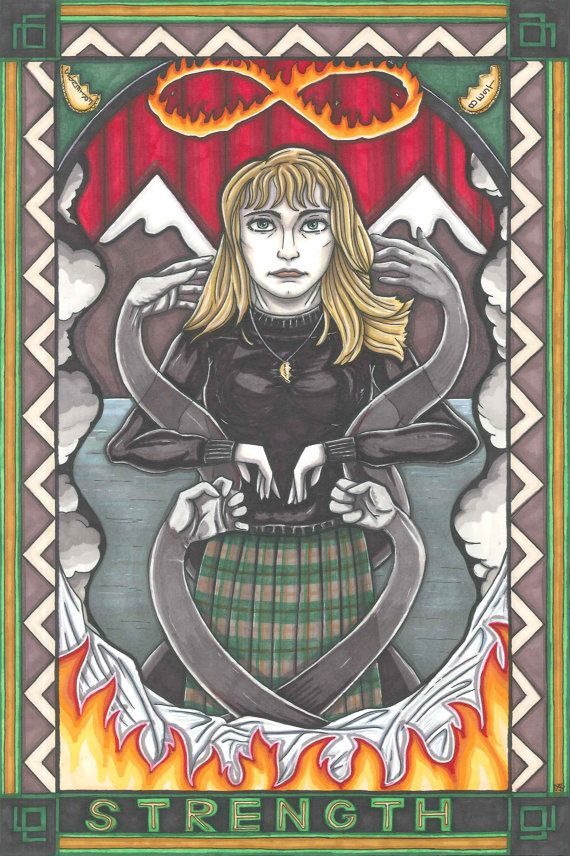 Twin Peaks Tarot Laura Palmer postcard PRINT by MaiafirePrints, Strenght