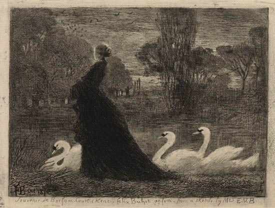 Felix-Hilaire Buhot, la dame aux cygnes, 1879