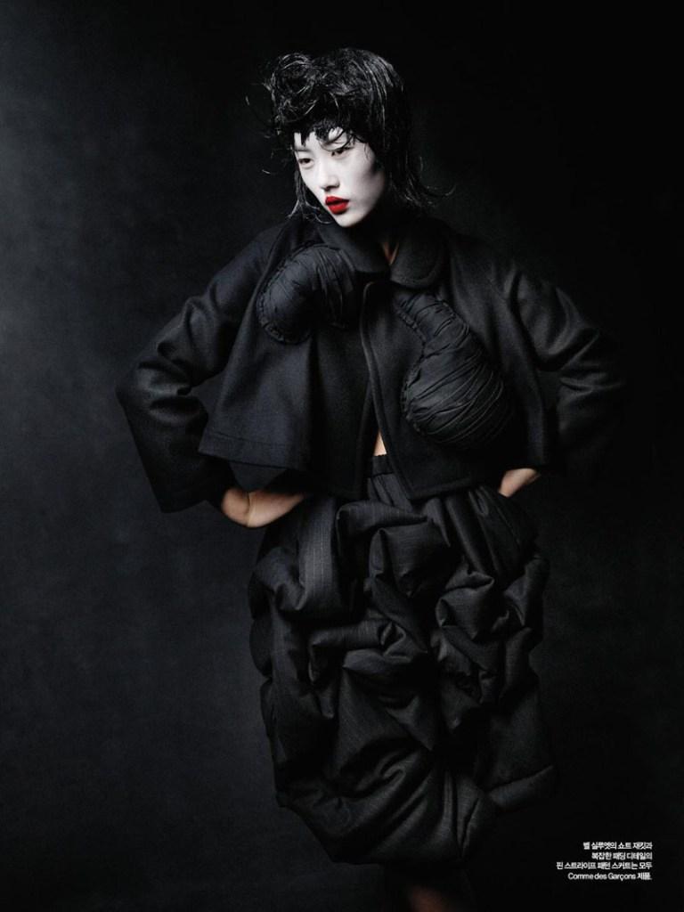 Liu Wen by Yelena Yemchuk in Comme des Garçons  Harper's Bazaar Korea October 2010 2