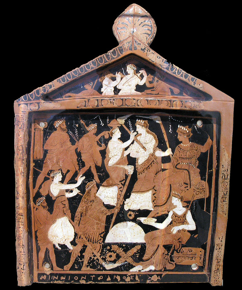 Placca votiva in terracotta ritrovata al santuario di Eleusi (IV secolo a.C.).