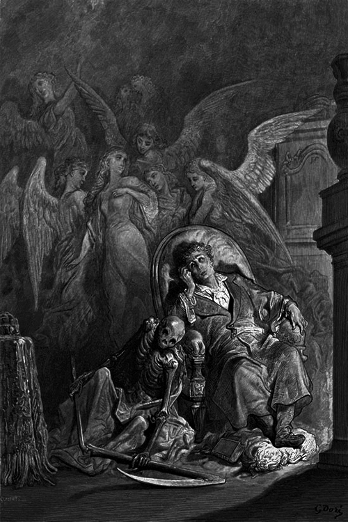 Gustave Doré, The Raven by Edgar Allan Poe Plate 6 Vainly I had Sought to Borrow, 1882