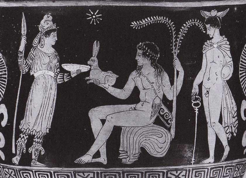 dea-tracia-bendis-con-tatuaggi-braccia-e-gambe-incontra-apollo,-pittura-vascolare-greca