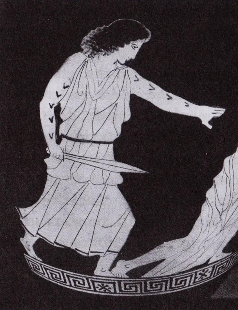 donna tracia tatuata che uccide orfeo pittura vascolare greca