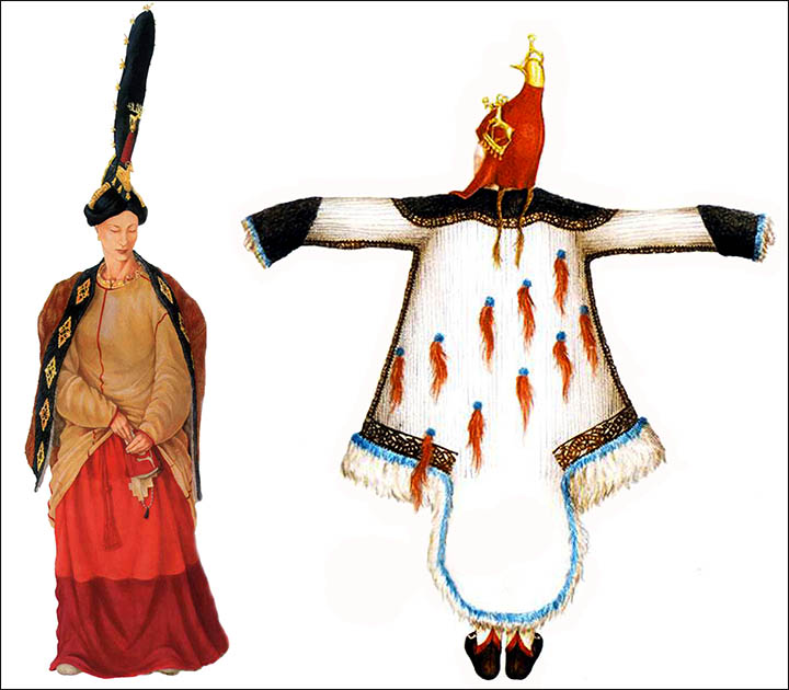 reconstructions of Pazyryk woman's and man's costumes. All items were found inside 'Princess' Ukok burial.