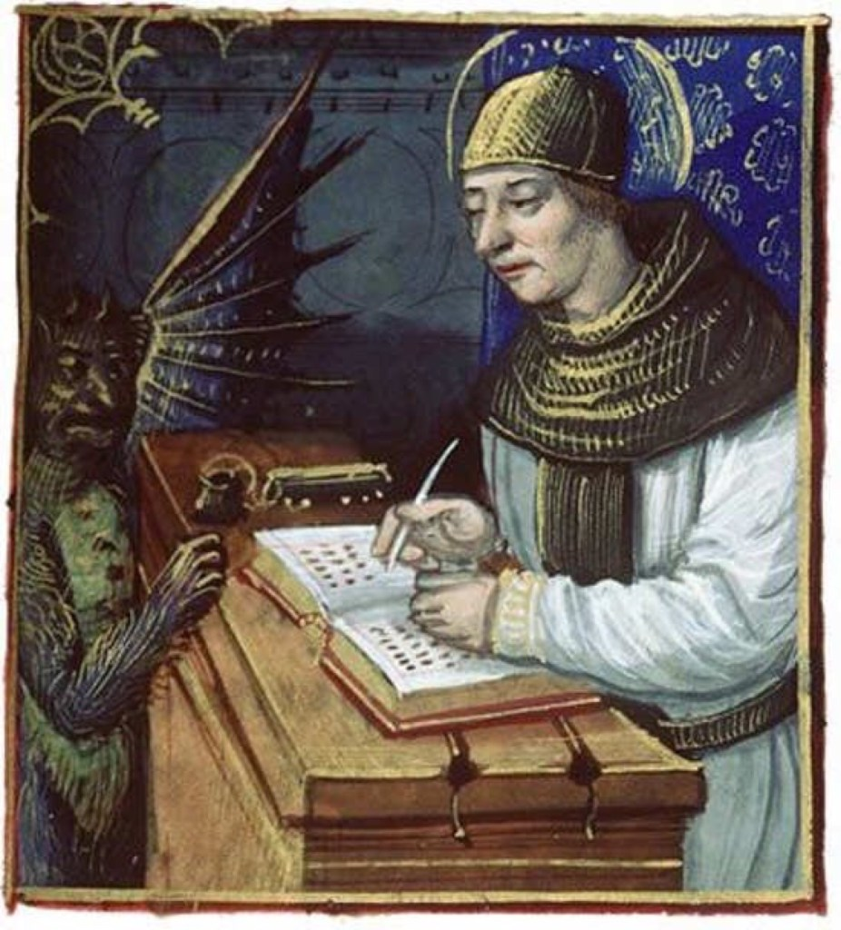 Titivillus, patron demon of scribes provides an easy excuse for the errors in manuscripts when they are copied.
