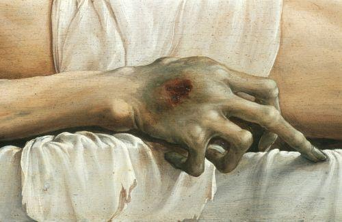 Hans Holbein the Younger - The Body of the Dead Christ in the Tomb (detail)