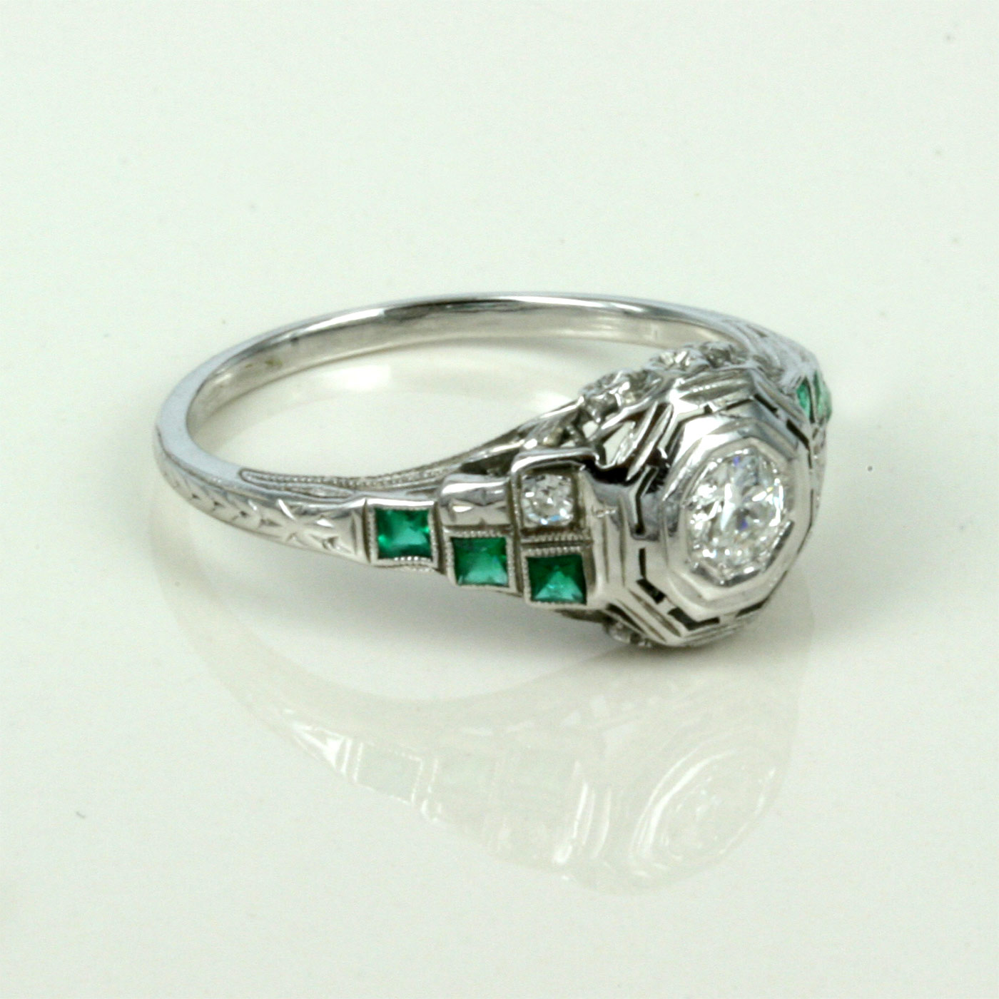 art deco emerald and diamond engagement ring art deco wedding ring Art Deco emerald and diamond engagement ring
