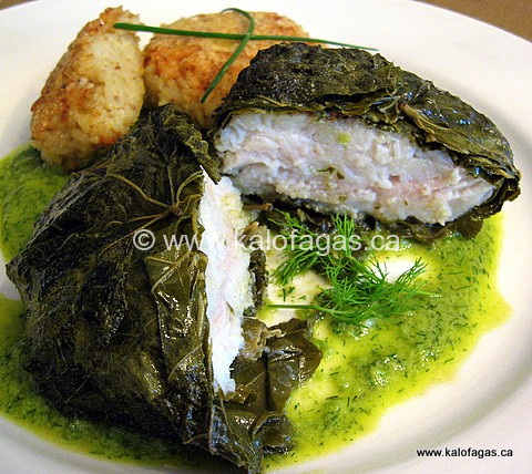 Grouper Poached in Olive Oil With Grape Leaves