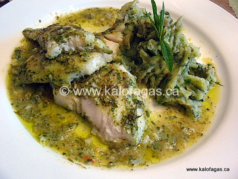 Baked Grouper With Prassini Saltsa and a Puree of Zucchini and Mint