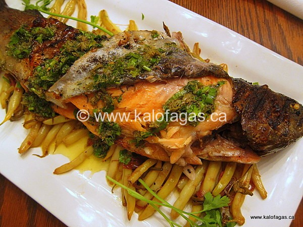 Grilled Trout With Yellow Beans, Red Wine Vinegar & Grape Shoots