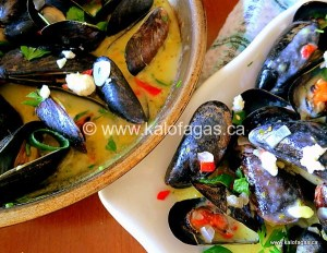 Wasabi Mussels Saganaki