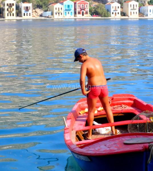 boy fishing, Kastelorizo