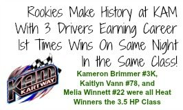 Three KAM Rookies pick up 1st Time Career Wins at KAM Kartway on June 6, 2015