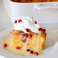 Pumpkin Panettone Bread Pudding with White Chocolate Creme Anglaise and Bourbon Whipped Cream