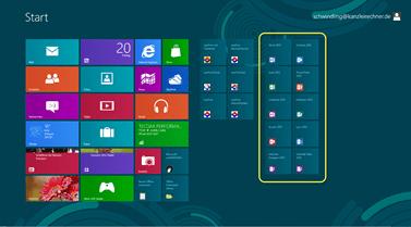 Winbdows 8 Startbildschirm (Modern UI, ehem. Metro UI) und Anwaltssoftware LawFirm