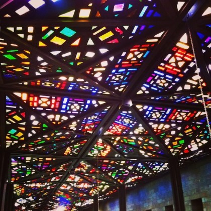 Stained glass ceiling in the National Gallery of Victoria