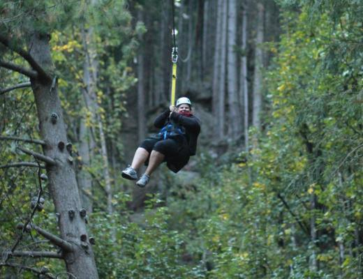 On the last zipline - The BIG one!