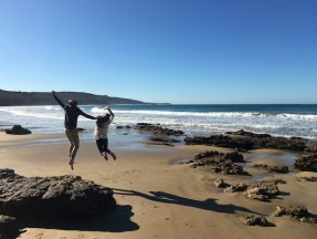 People jumping off the rocks on Anglesea Beach, Great Ocean Road