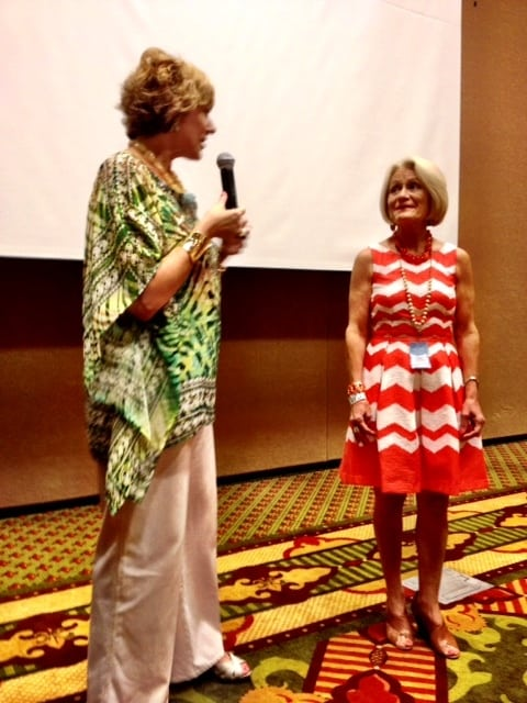 I led the advanced speaker group. We brought in the fabulous Shari Braendel from Fashion Meets Faith to teach. Here she is showing an example of someone who dresses in the right colors & style. {Sandy Vanderzicht, who happens to be my editor at Zondervan!}