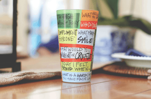 Bring back the family dinner conversation time with this clever cup.