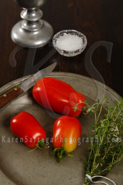 Stock Image: Plum Tomatoes On A Pewter Plate
