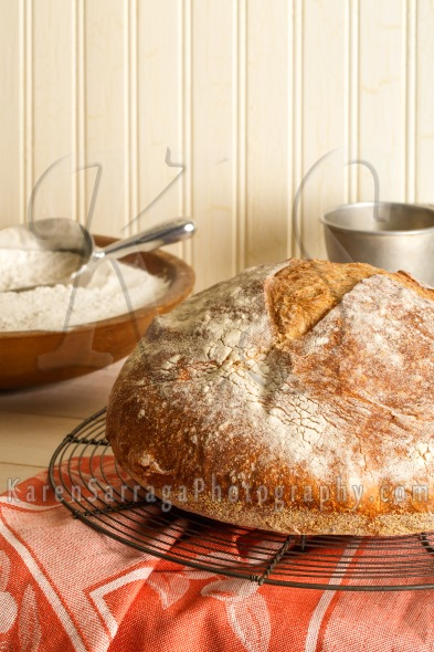Stock Image: Round Rustic Artisan Bread