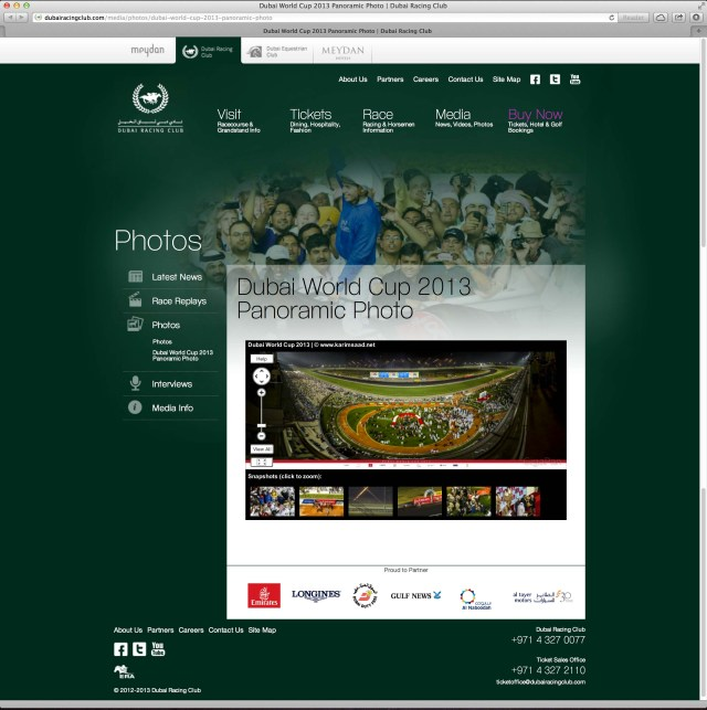 Dubai World Cup 2013 GigaPan featured on Dubai Racing Club website