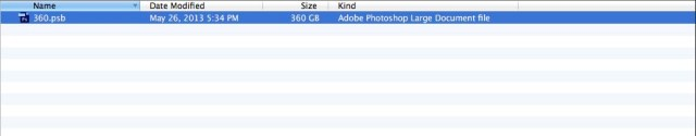 File size: 360GB Photoshop PSB