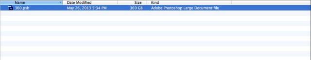 File size: 360GB Photoshop PSB