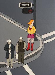 three men on the corner, by Karin Konoval