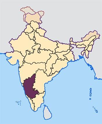 Karnataka in India Map