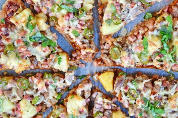BBQ, Pork, Bacon and Pineapple pizza