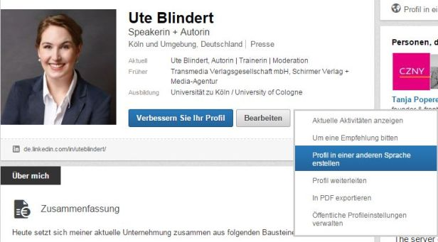 Profil in anderer Sprache auf LinkedIn anlegen