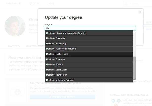 Researchgate: Auswahl des Studienabschlusses