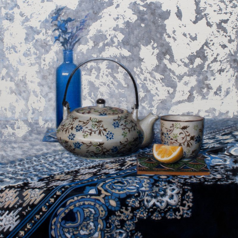 Tea in Blue, 14 x 11, oil on panel